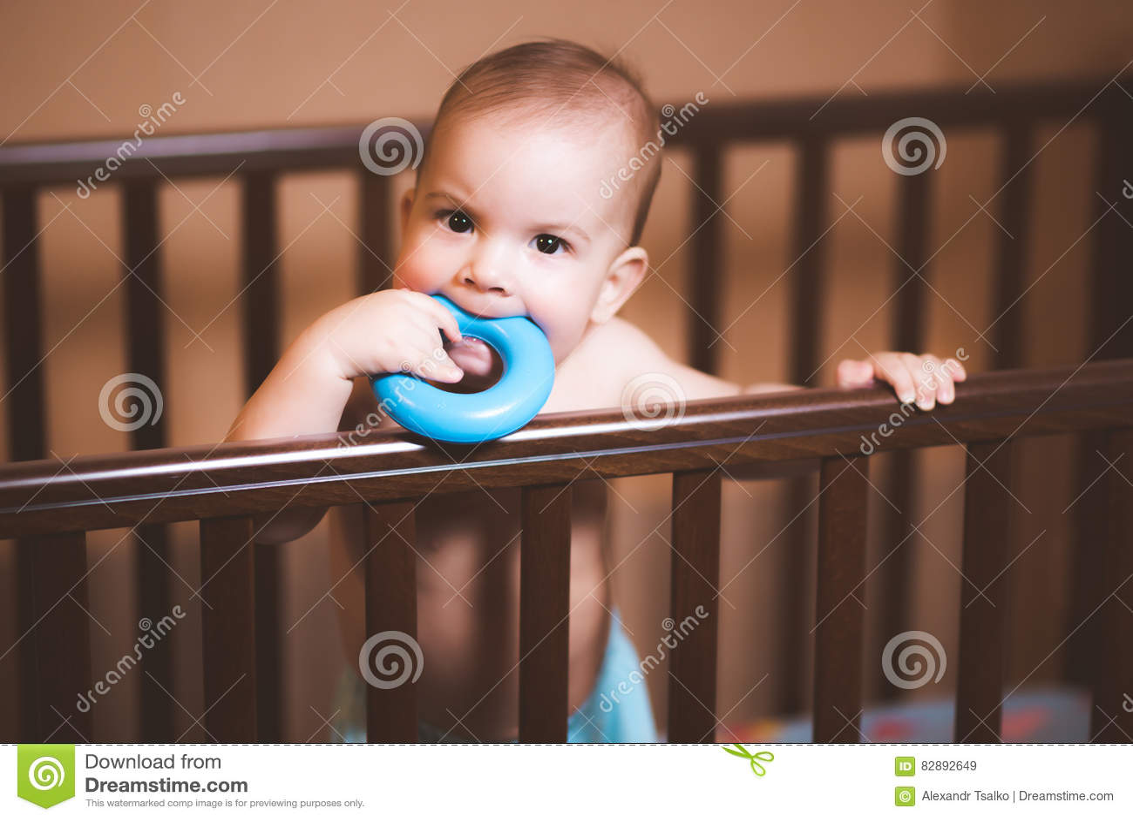 Bebé que mastica un juguete en el pesebre
