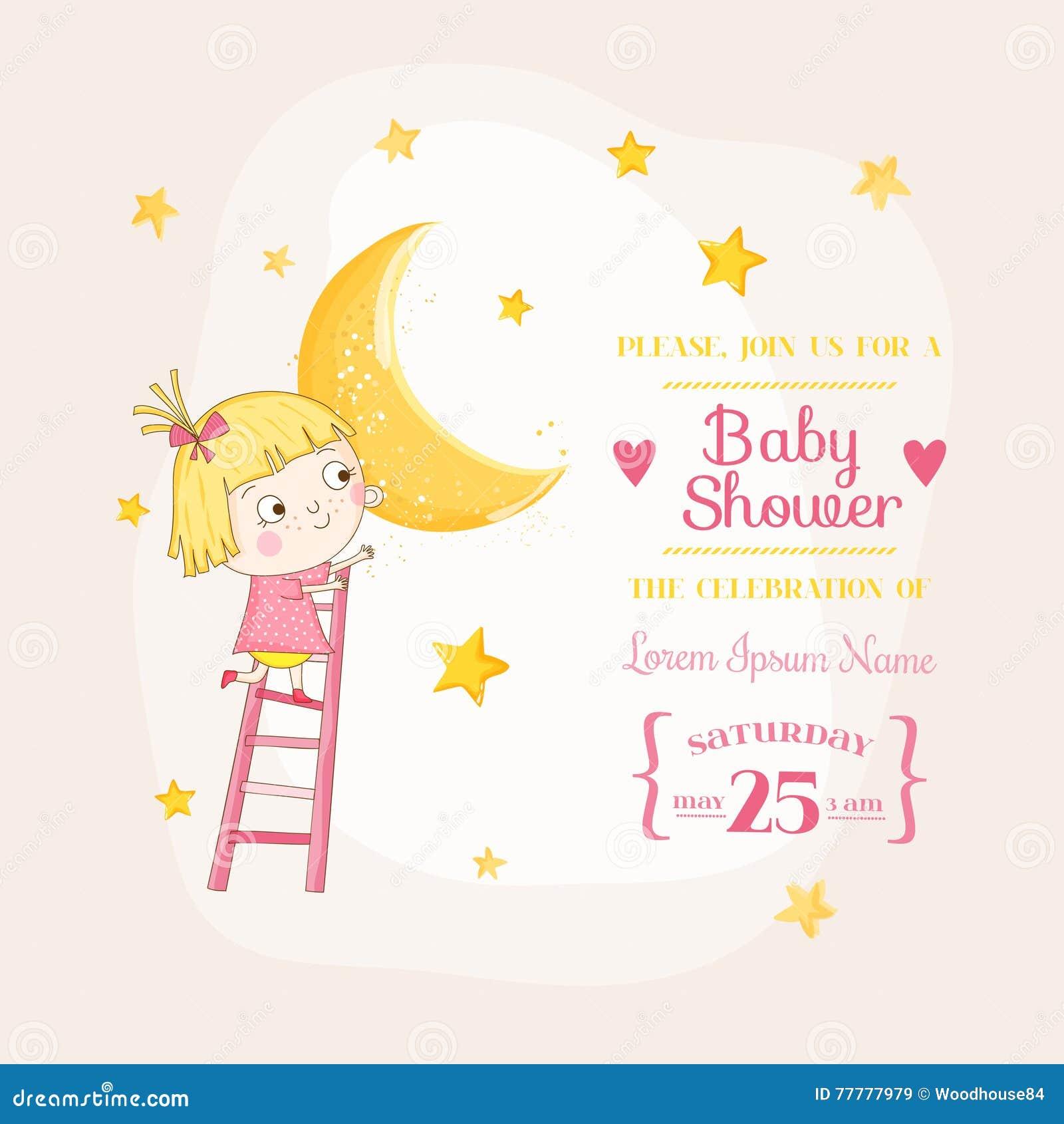 Bebé que sube en una luna - fiesta de bienvenida al bebé o tarjeta de llegada