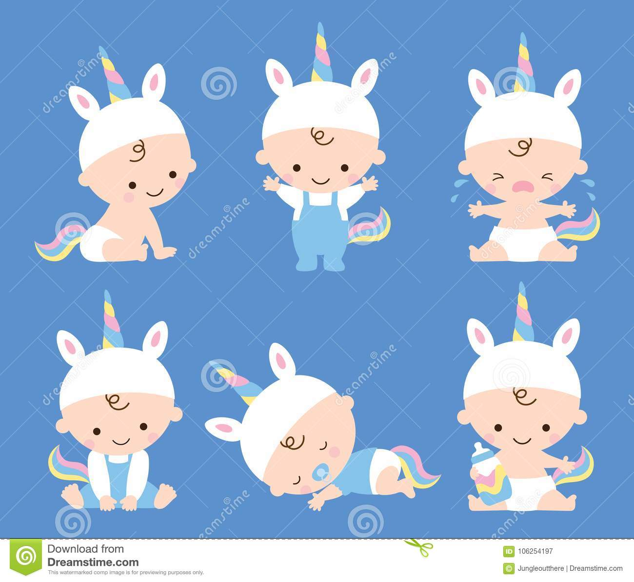 Bebê bonito Unicorn Costume Vetora Illustration