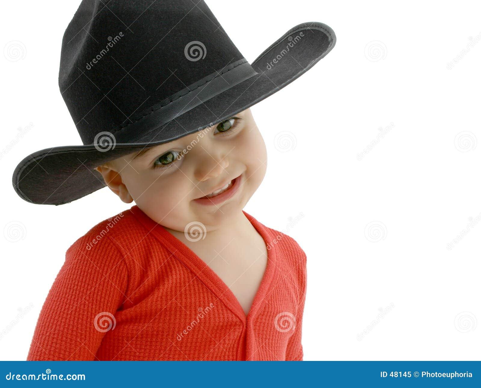 Bebê do cowboy com chapéu negro