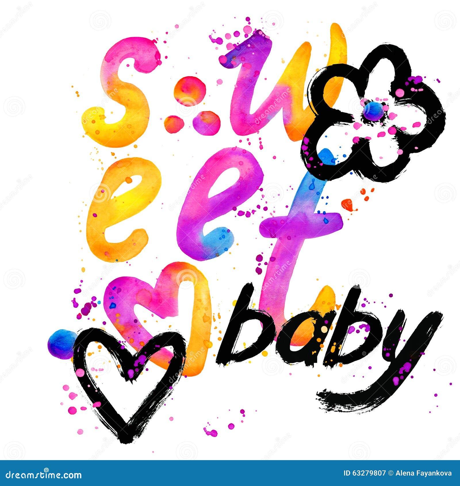 Bebê doce Projeto de gráficos da rotulação do t-shirt Doce do texto Projeto de gráficos do t-shirt Ilustração da aguarela
