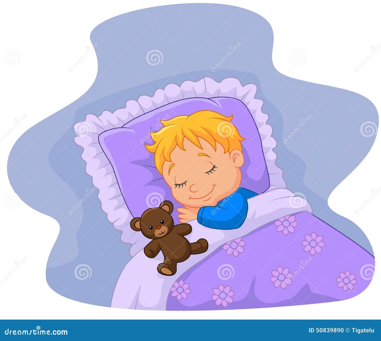 Bebe Dos Desenhos Animados Que Dorme Com Urso De Peluche