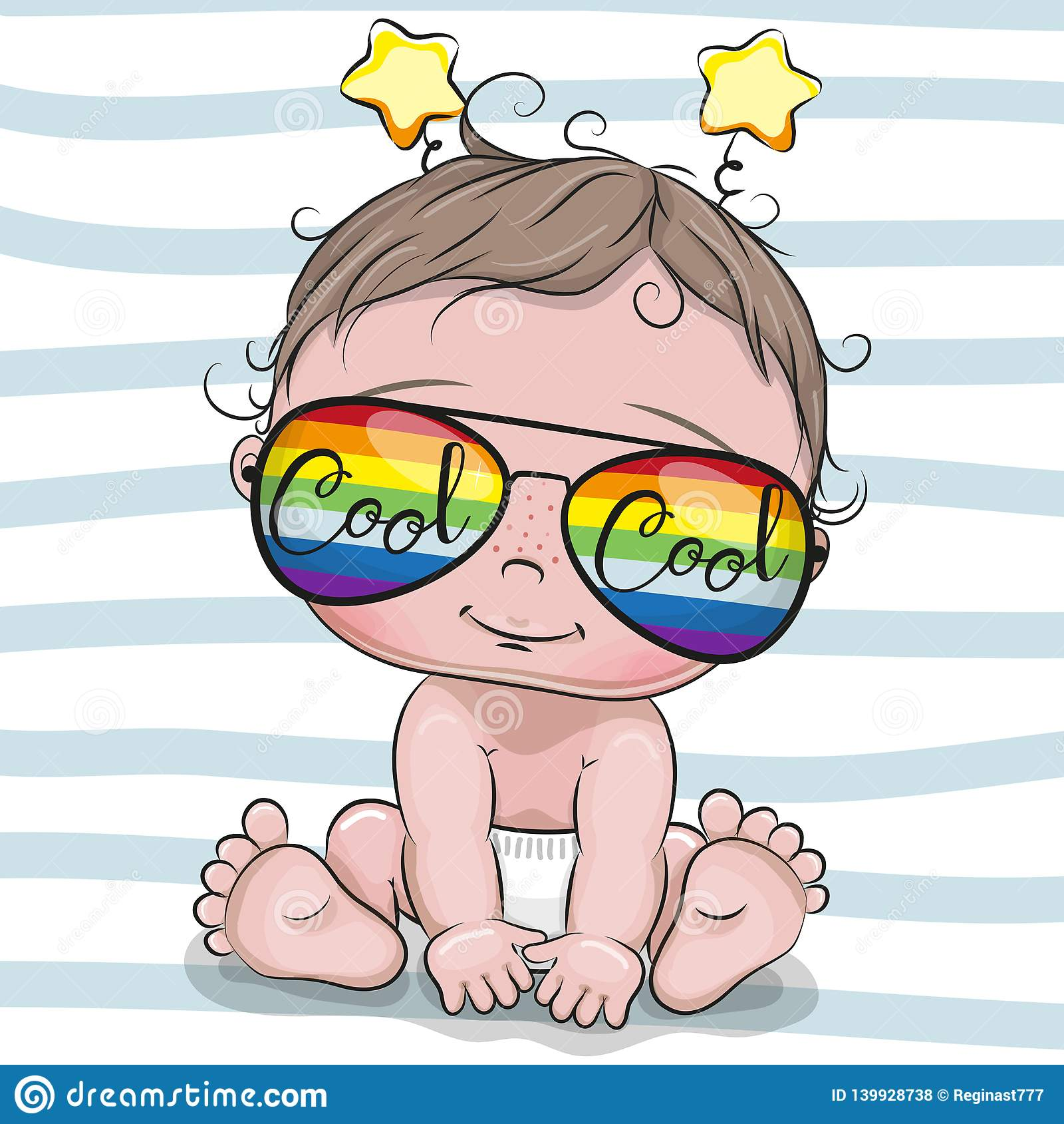 Bebê fresco dos desenhos animados com vidros de sol