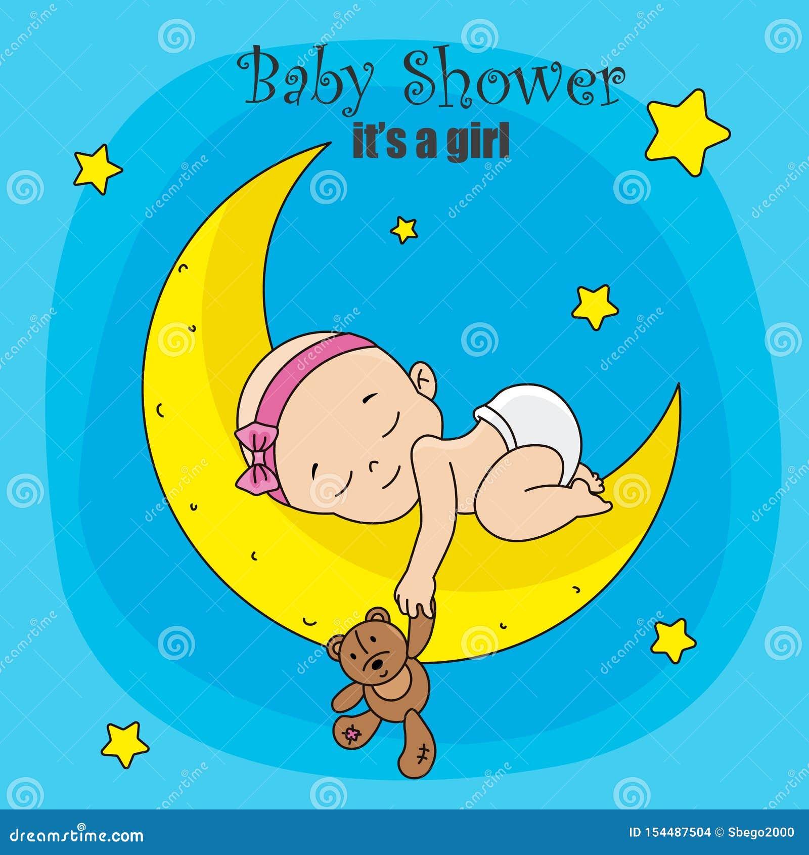 Bebê que dorme na lua com urso de peluche