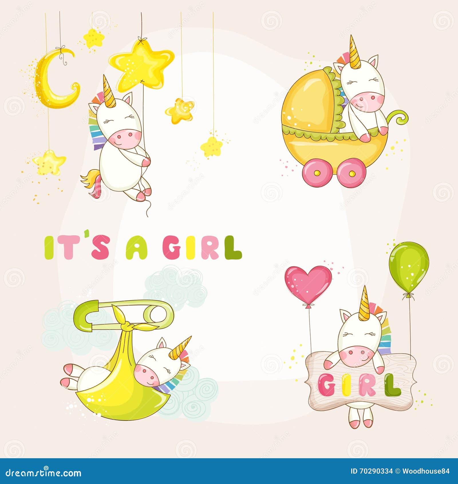 Bebê Unicorn Set - festa do bebê ou cartão de chegada