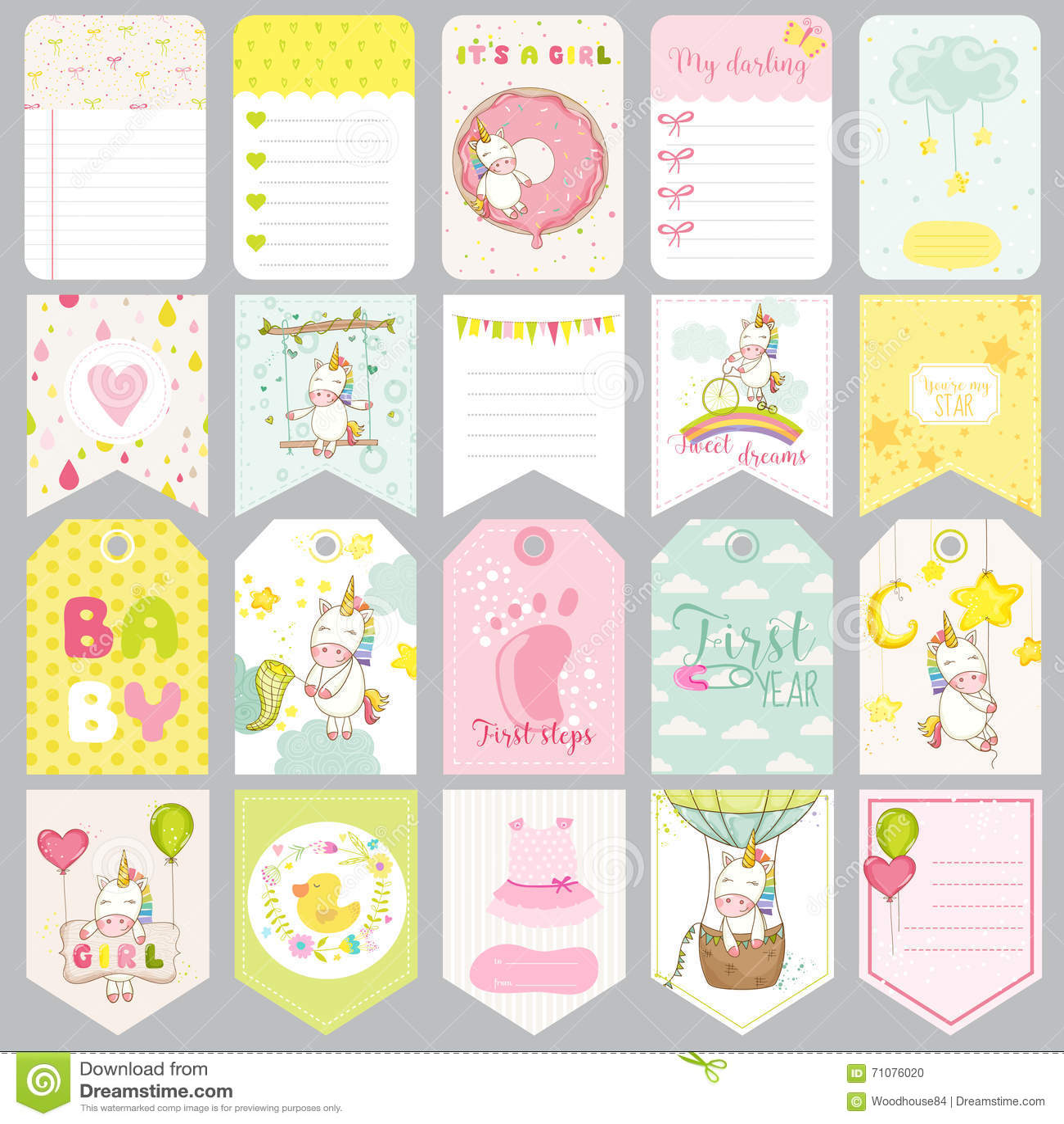 Bebê Unicorn Tags Bandeiras do bebê Etiquetas do álbum de recortes Cartões bonitos