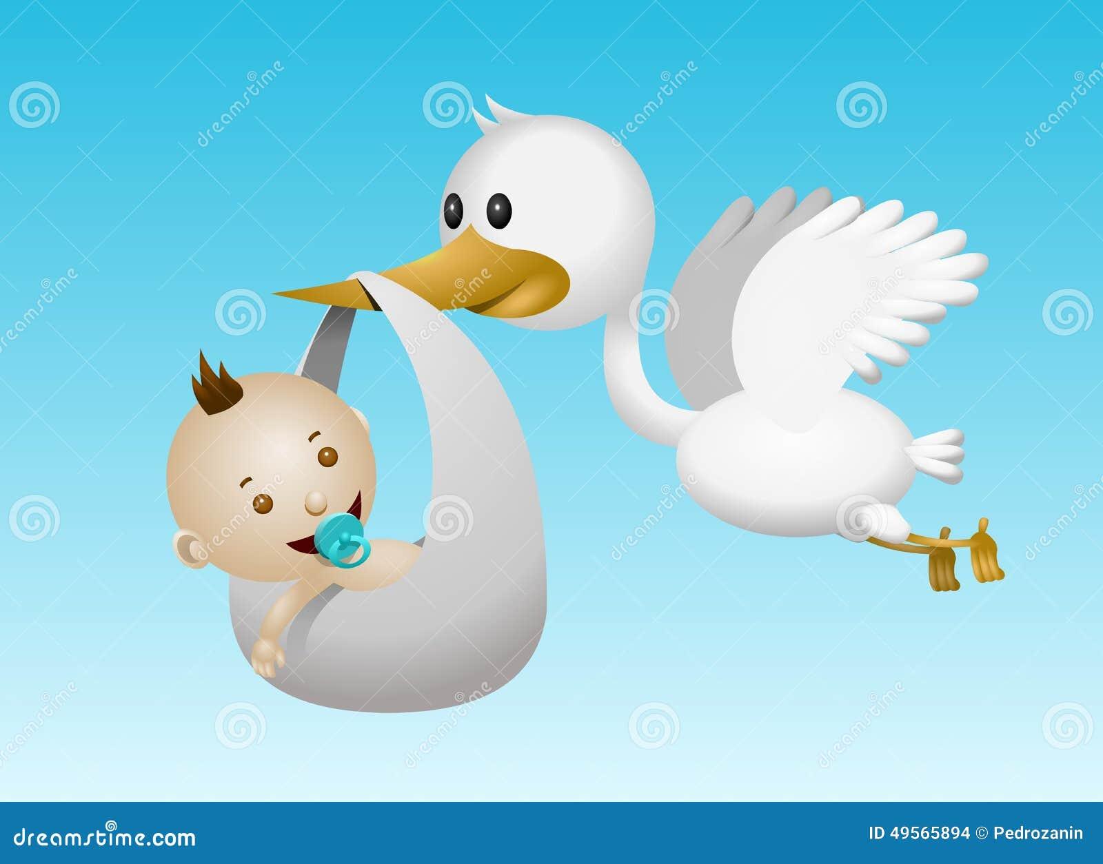 Bebé De La Cigüeña Stock De Ilustración