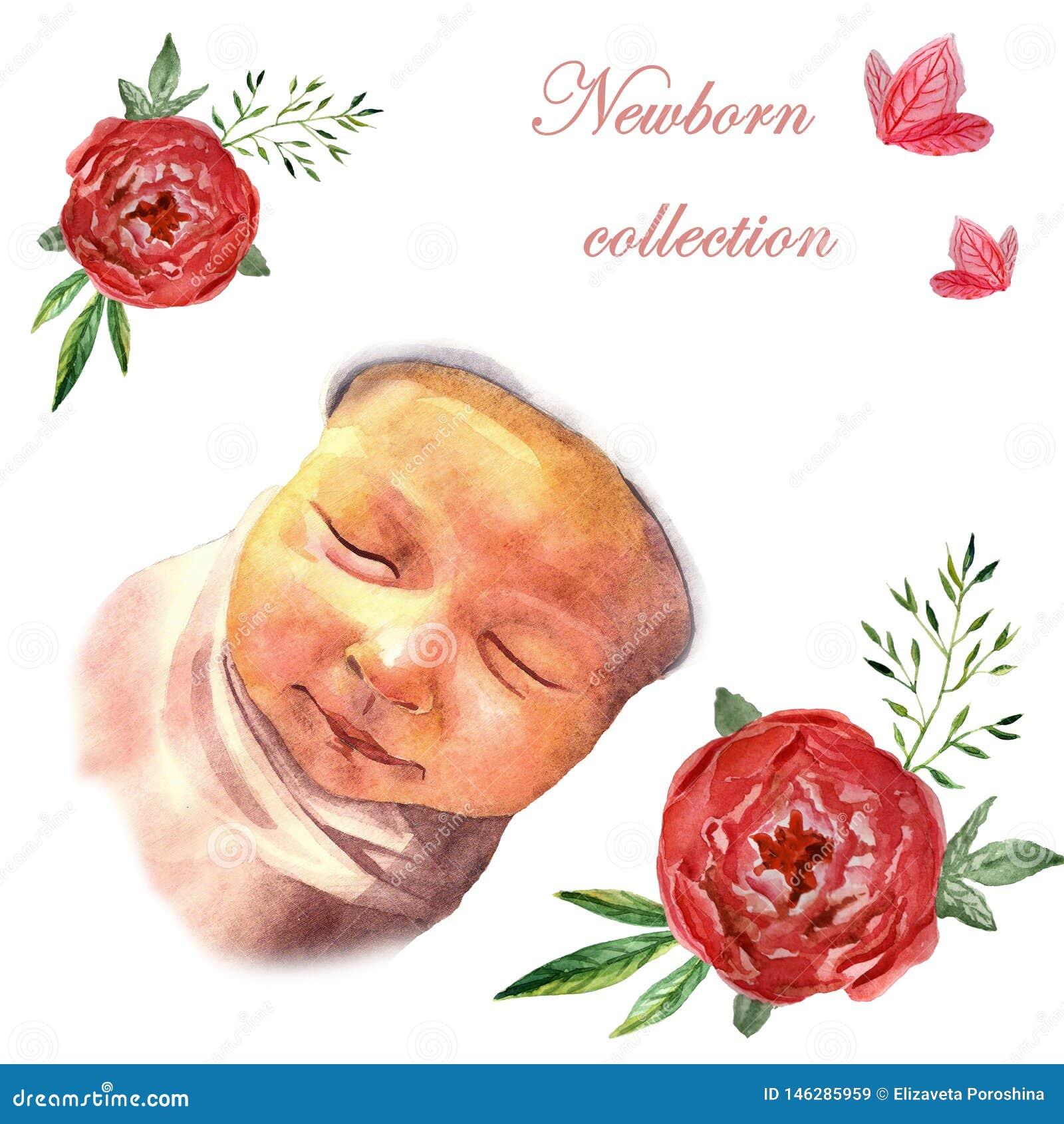 Beb? durmiente reci?n nacido de la acuarela en marco floral