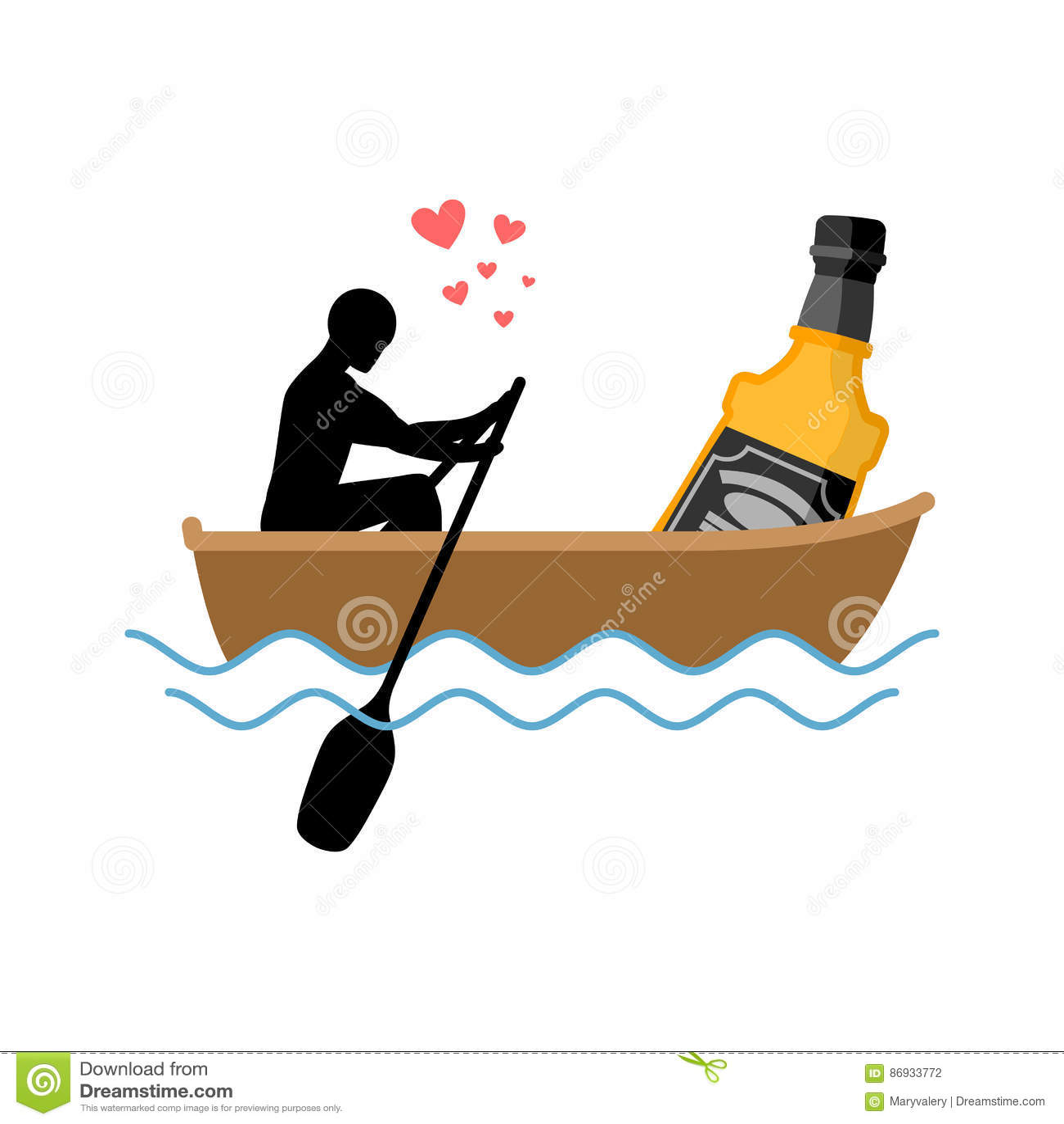 Bebida del alcohol del amante Hombre y botella de paseo del barco del whisky amantes