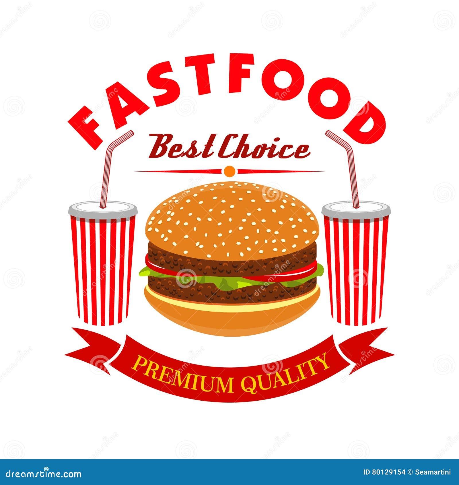 Bebida do cheeseburger e da soda para o menu do fast food