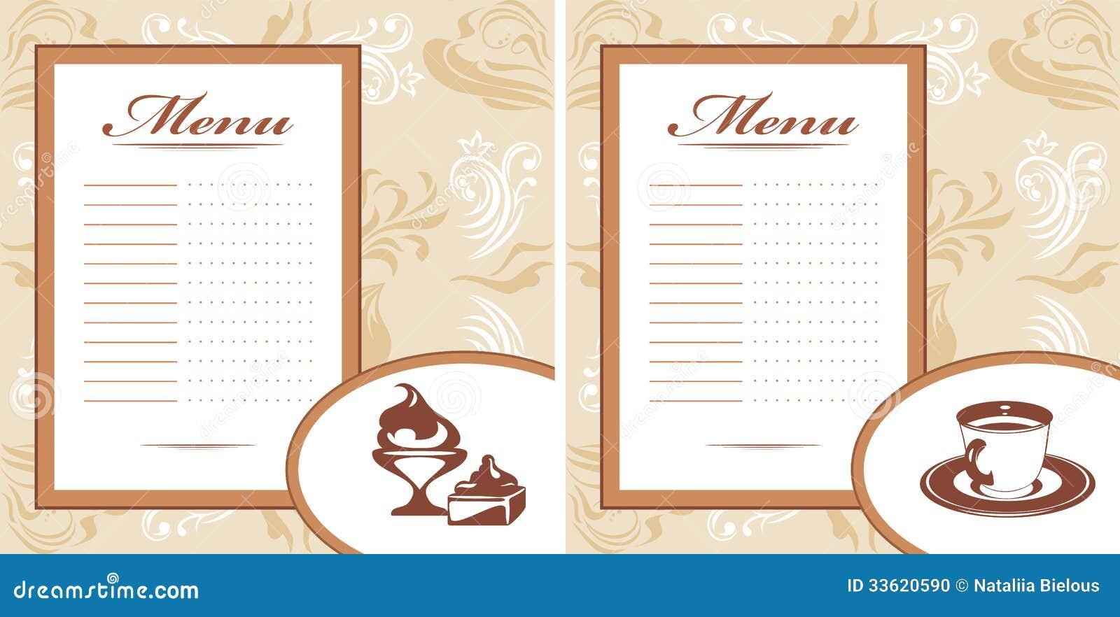 printable restaurant menu templates