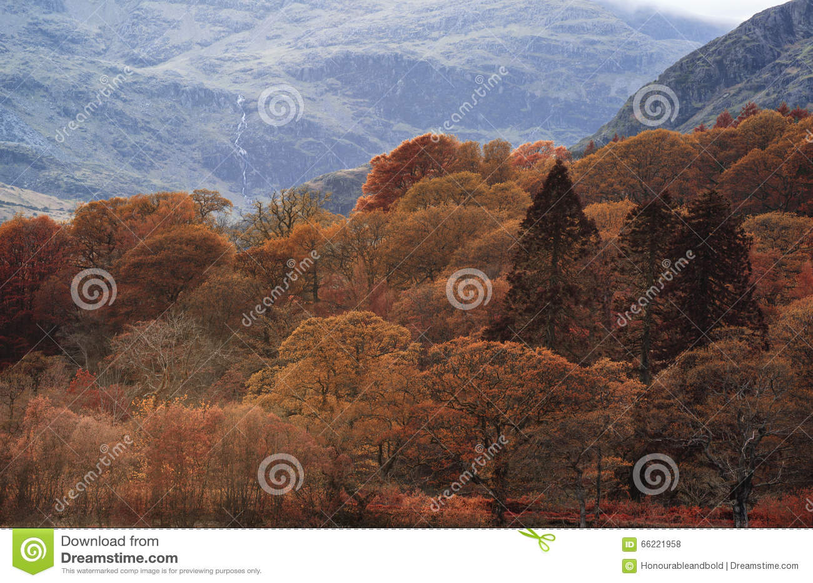 Bedöva Autumn Fall färglandskap av sjöområdet i Cumbria