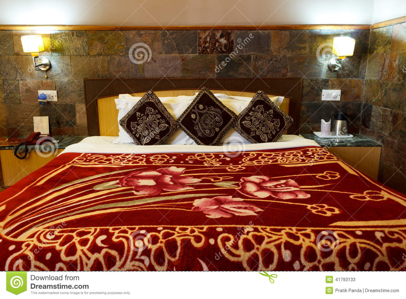 Bed in bedroom home interior design stock photo image for Interior design bed sheets