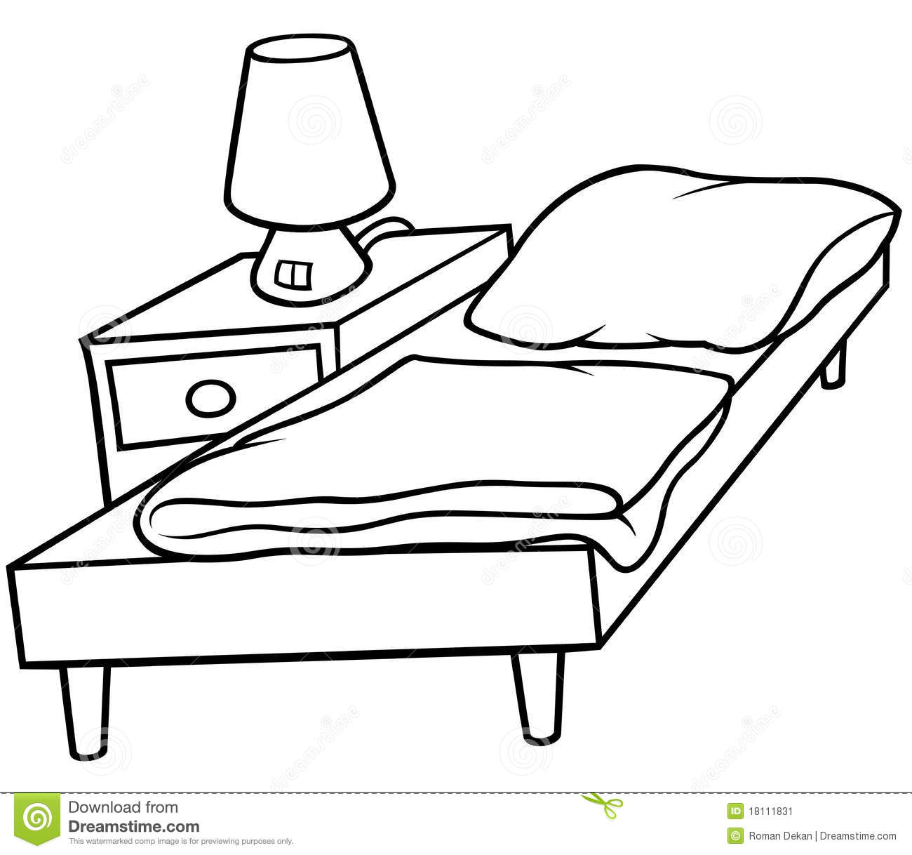 Bed And Bedside Stock Vector. Illustration Of Interior