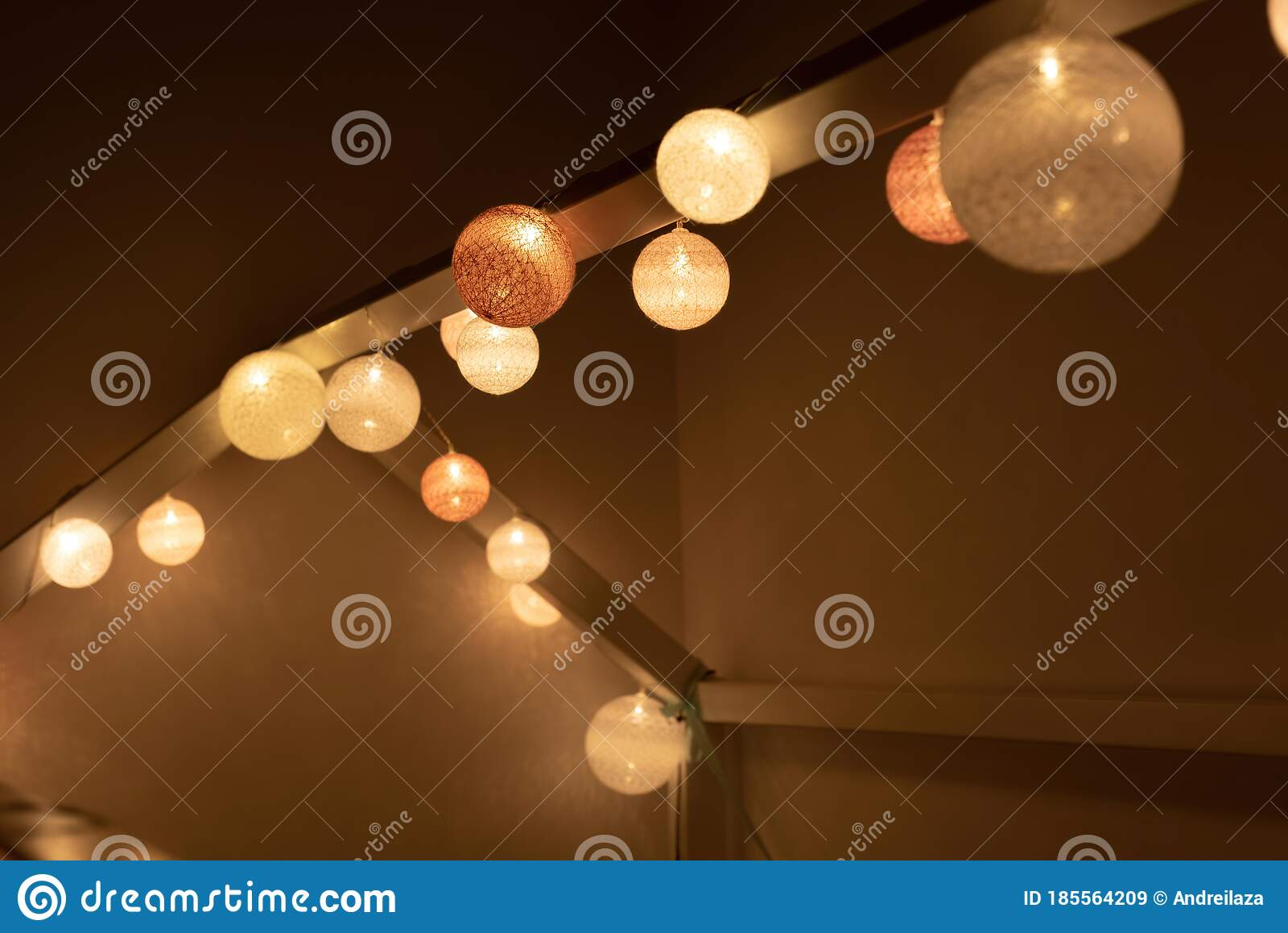 Bed Canopy Decorated With Lights In Montessori Room Stock Image Image Of Canopy Design 185564209