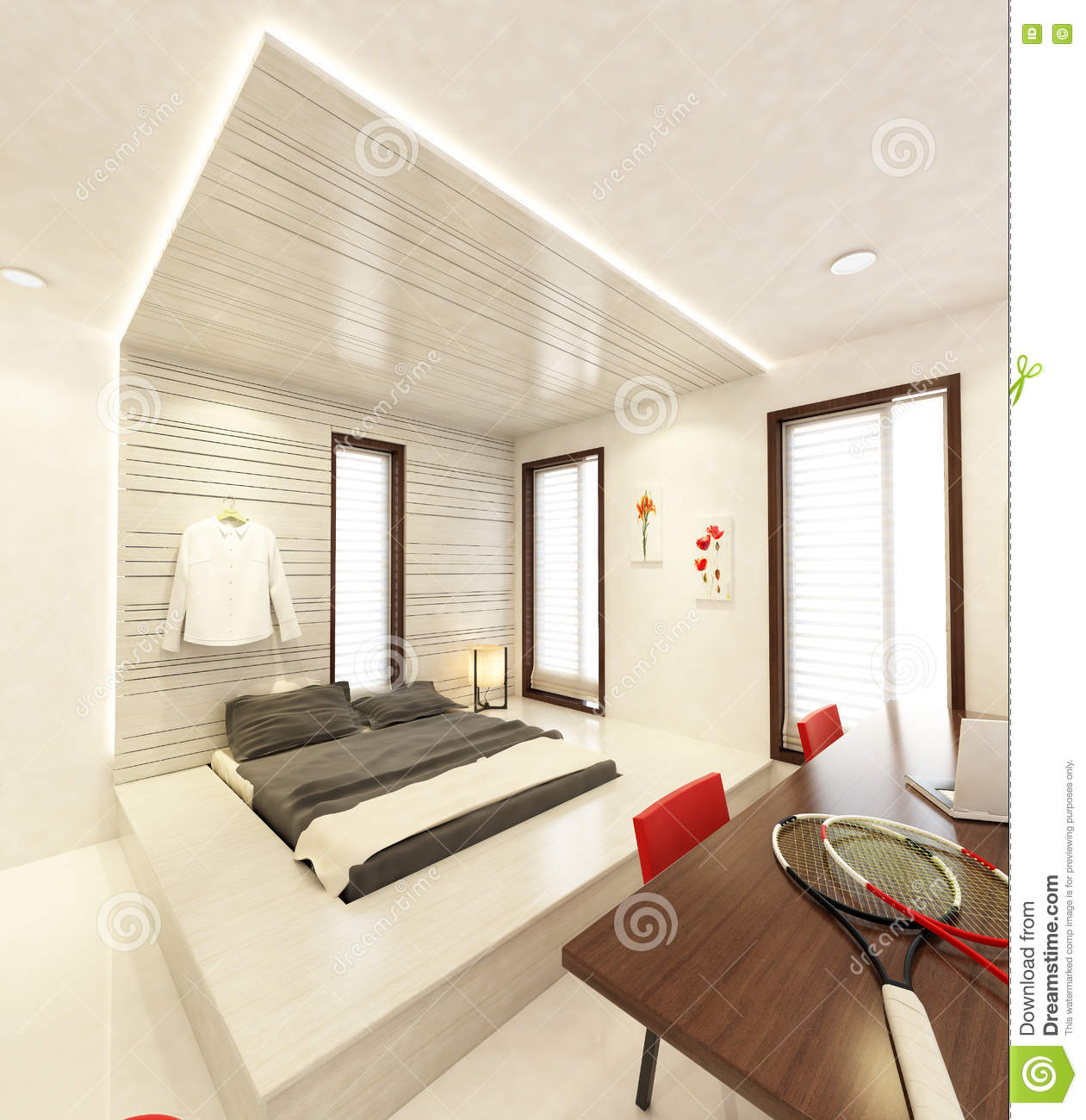 BED STUDY ROOM 3D Stock Illustration