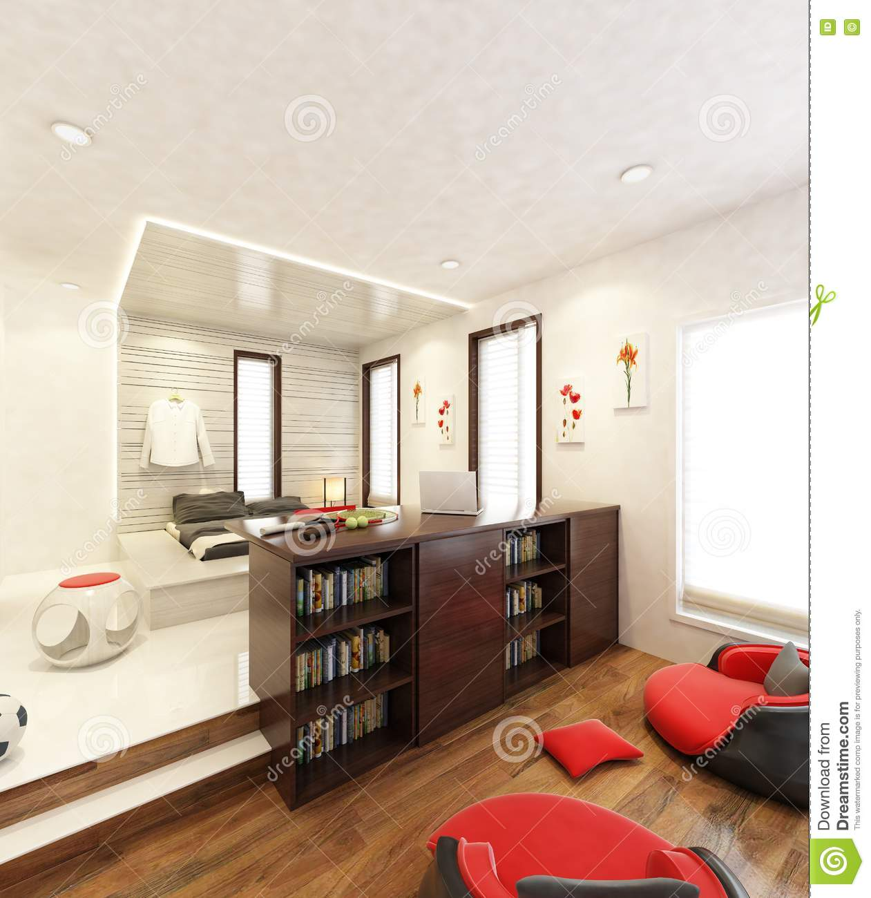 Classic Study Room Design: BED STUDY ROOM 3D Stock Illustration. Illustration Of