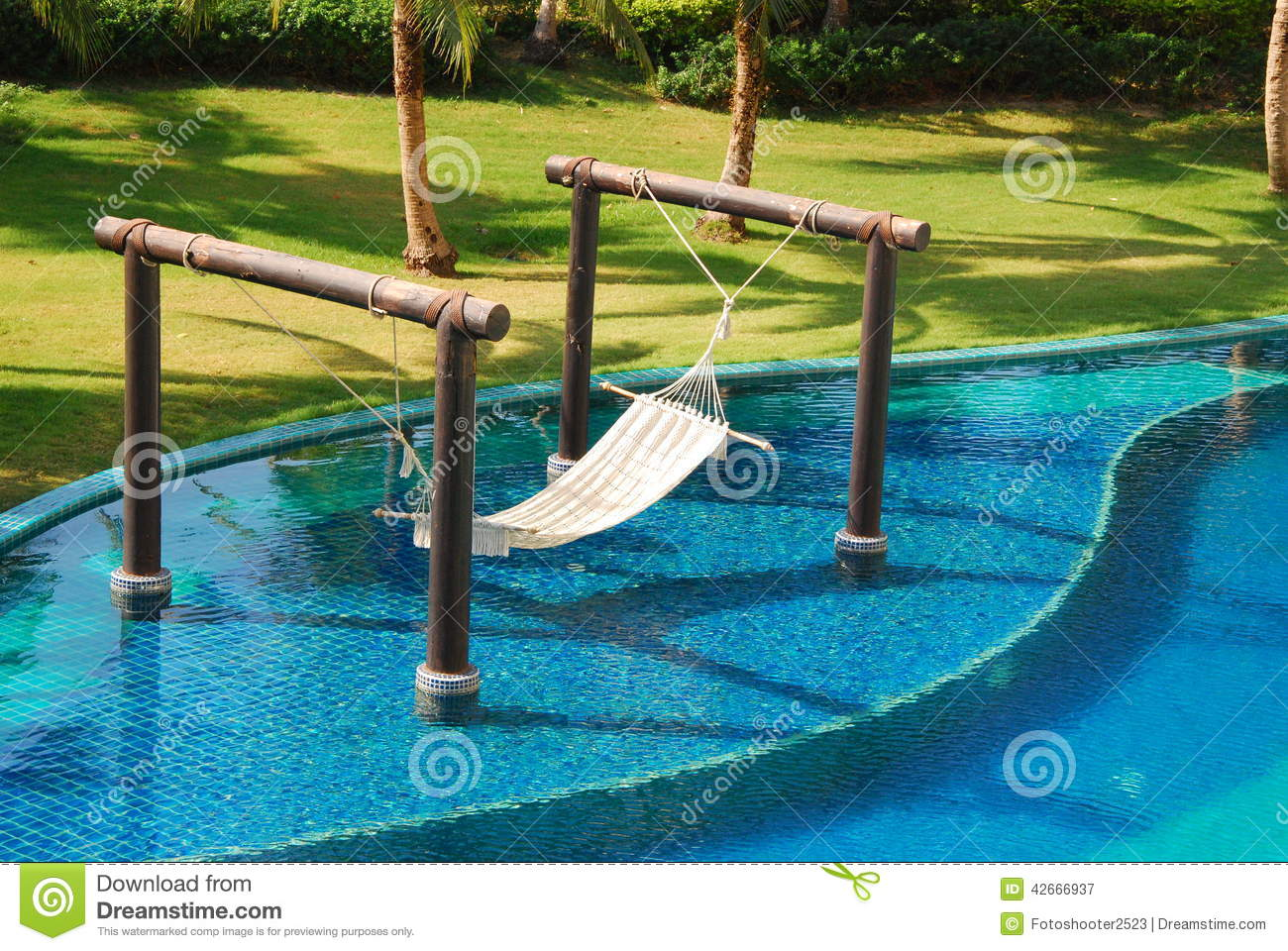 Bed decorate in swimming pool stock image image 42666937 for Swimming pool bed