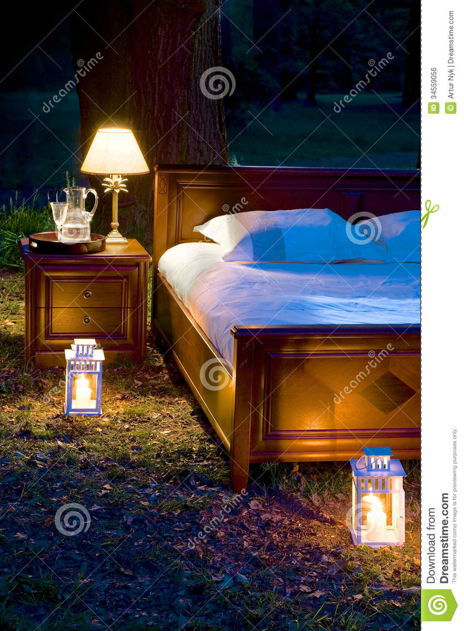 Bed In Forest Stock Photo. Image Of Lazy, Field, Space