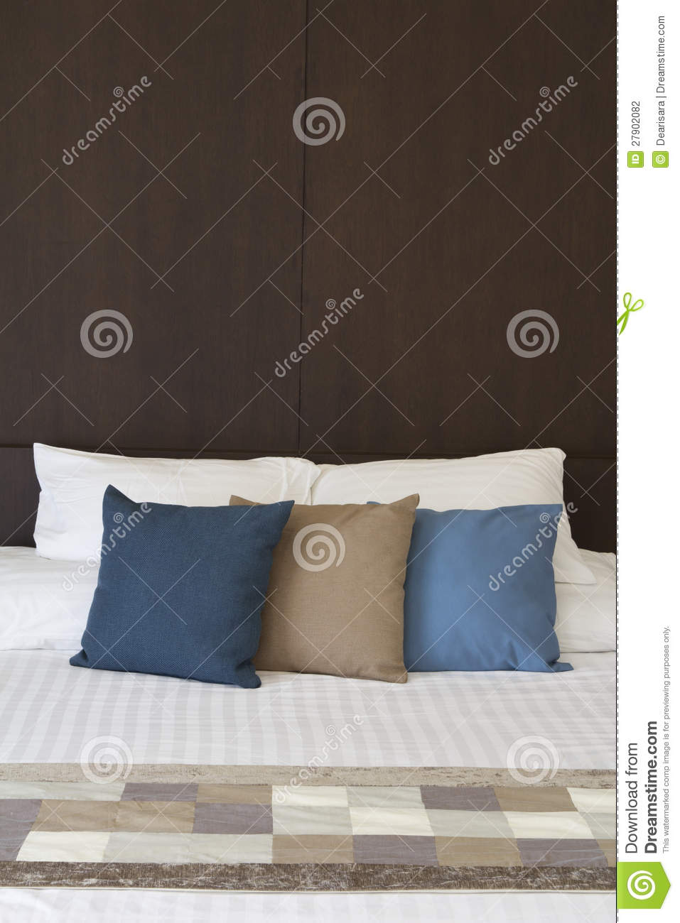 Bed Headboard And Fancy Pillows Stock Photography Image
