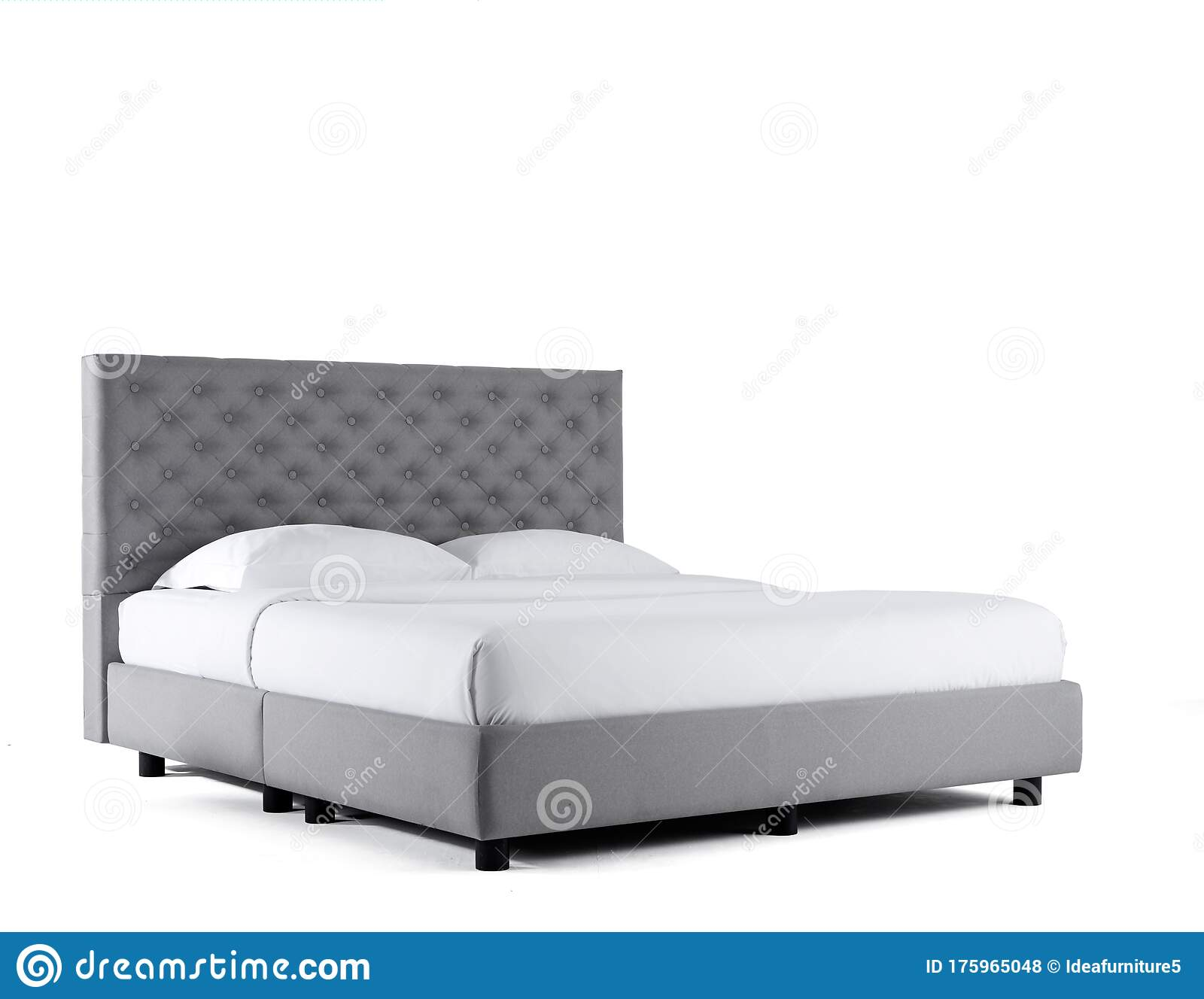 Upholstered Bed Isolated On White Background King Size Luxury Bed With Mattress And Pillows Bedroom Furniture Stock Photo Image Of Classic Black 175965048