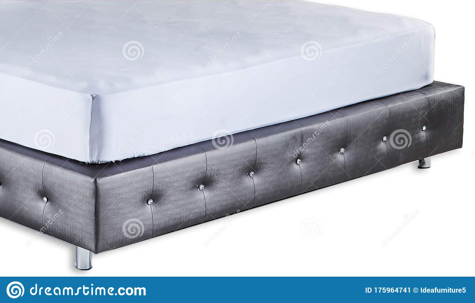 Upholstered Bed Isolated On White Background King Size Luxury Bed With Mattress And Pillows Bedroom Furniture Stock Image Image Of Hotel Home 175964741