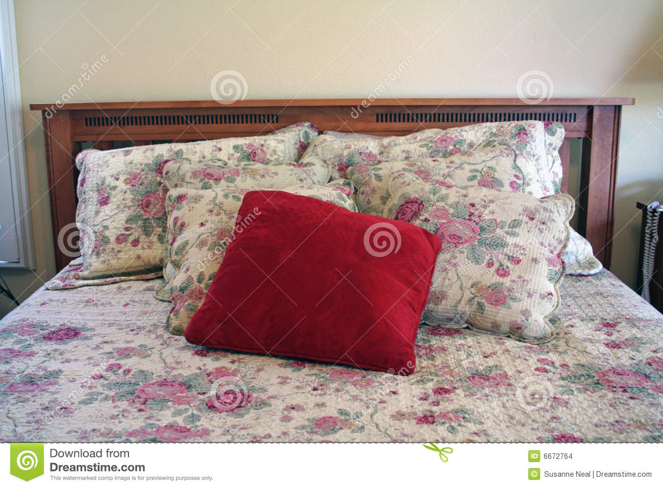 A bed headboard pillows bedspead stock images image for Headboard made pillows