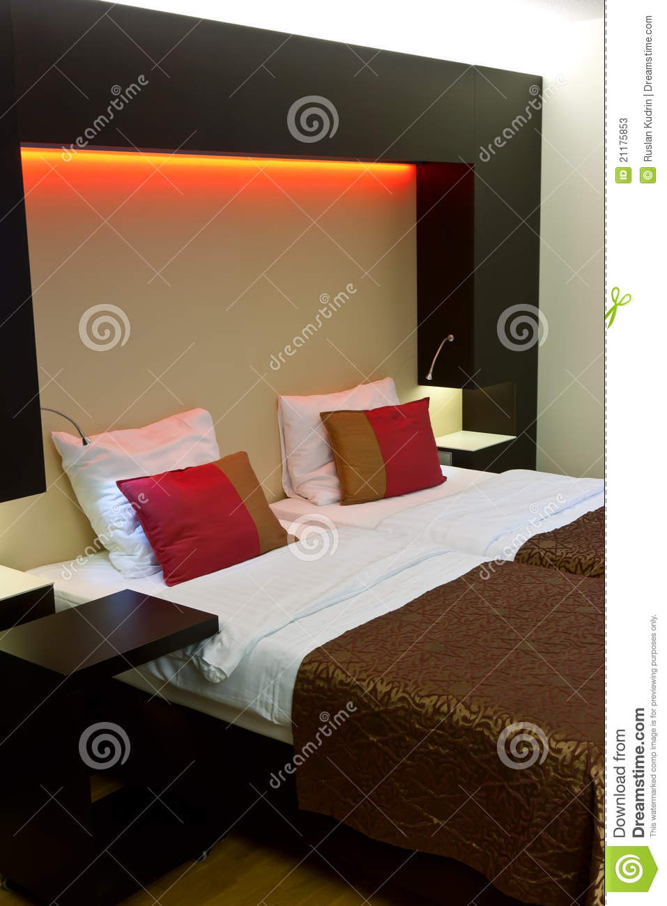 Bed in the hotel room