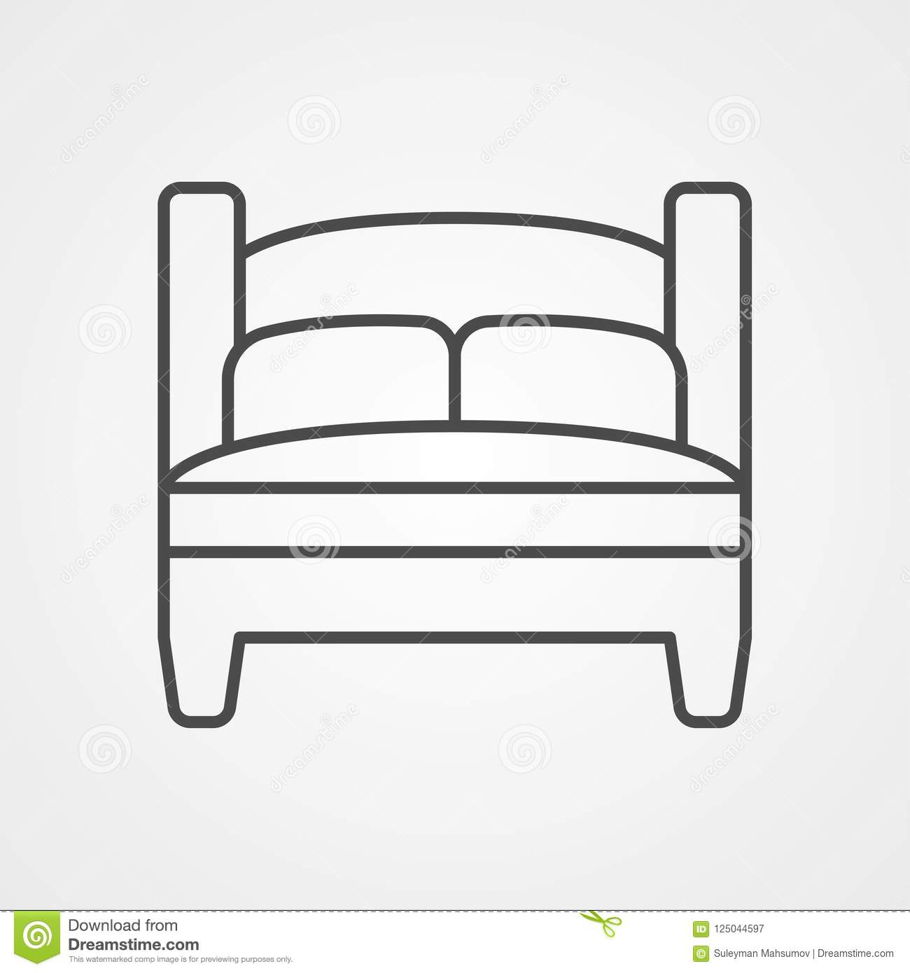 Bed Vector Icon Sign Symbol Stock Vector Illustration Of Bedding