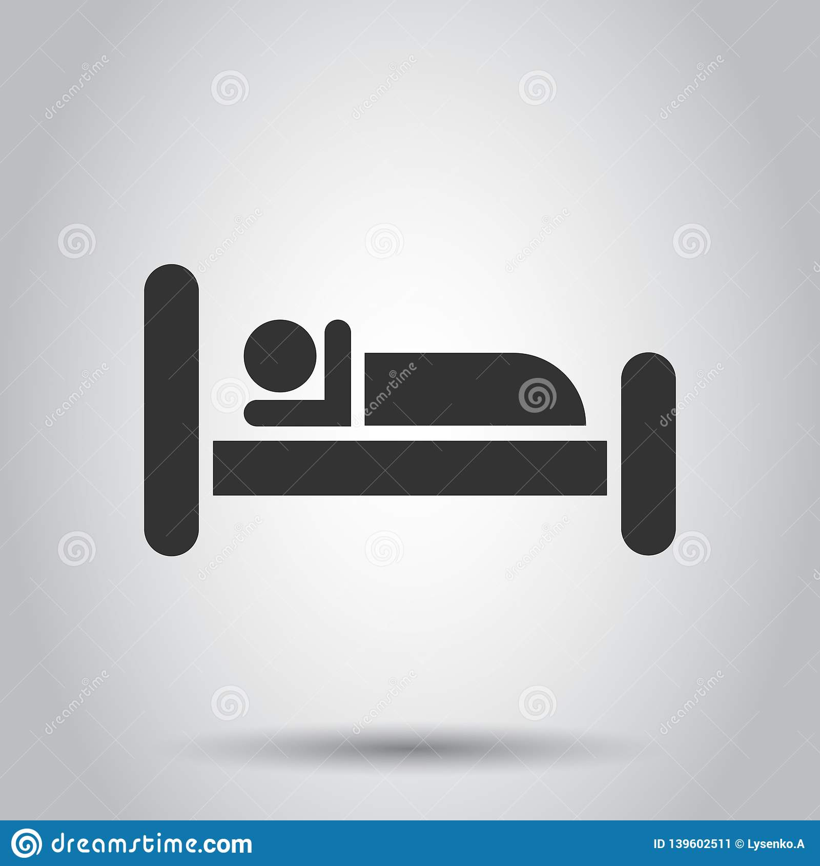 Bed Icon In Flat Style Sleep Bedroom Vector Illustration On White