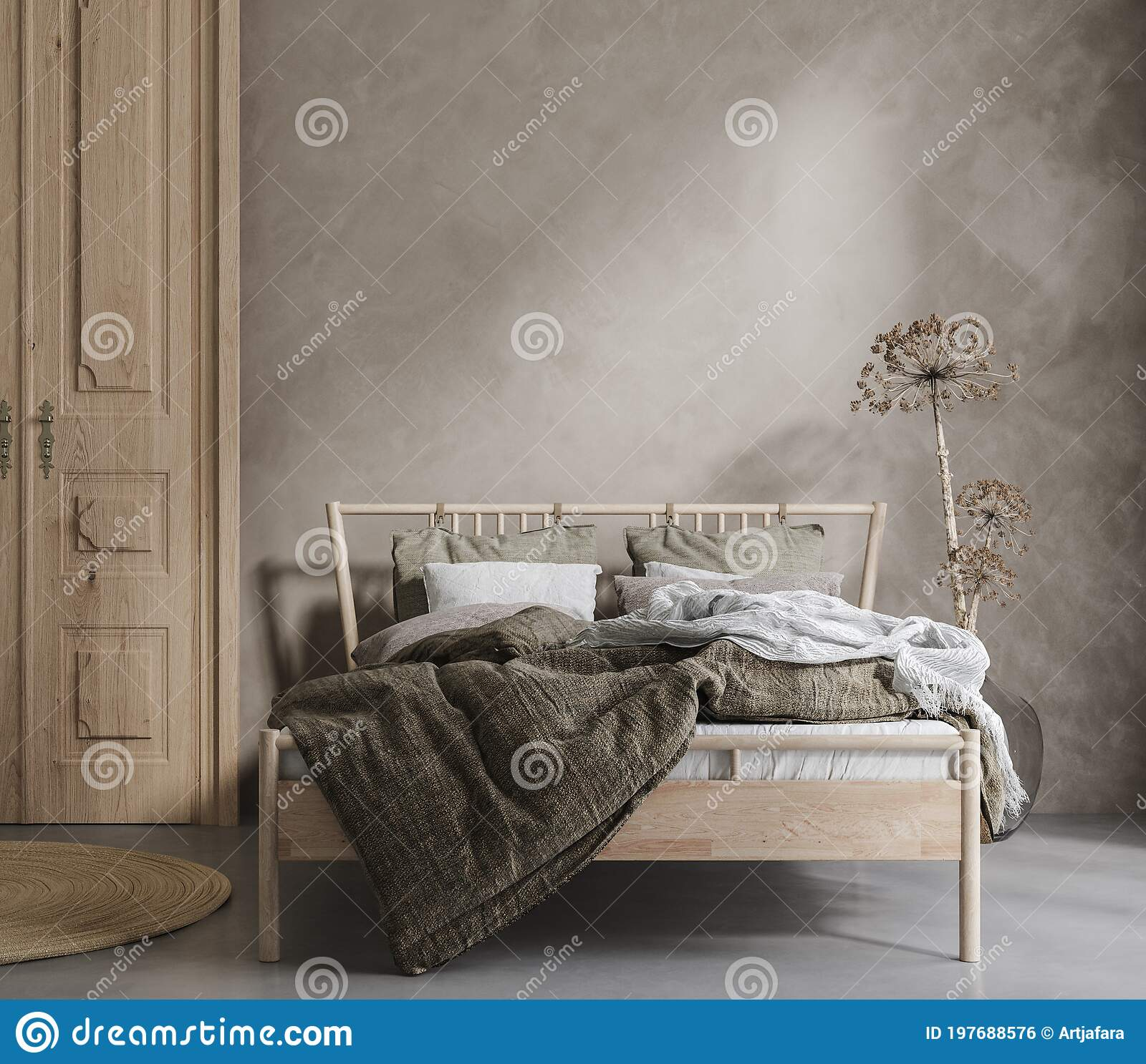 Bed With Linen Bedding Dry Plant And Wooden Door In Bedroom Room In Natural Tones Stock Illustration Illustration Of Architecture Room 197688576