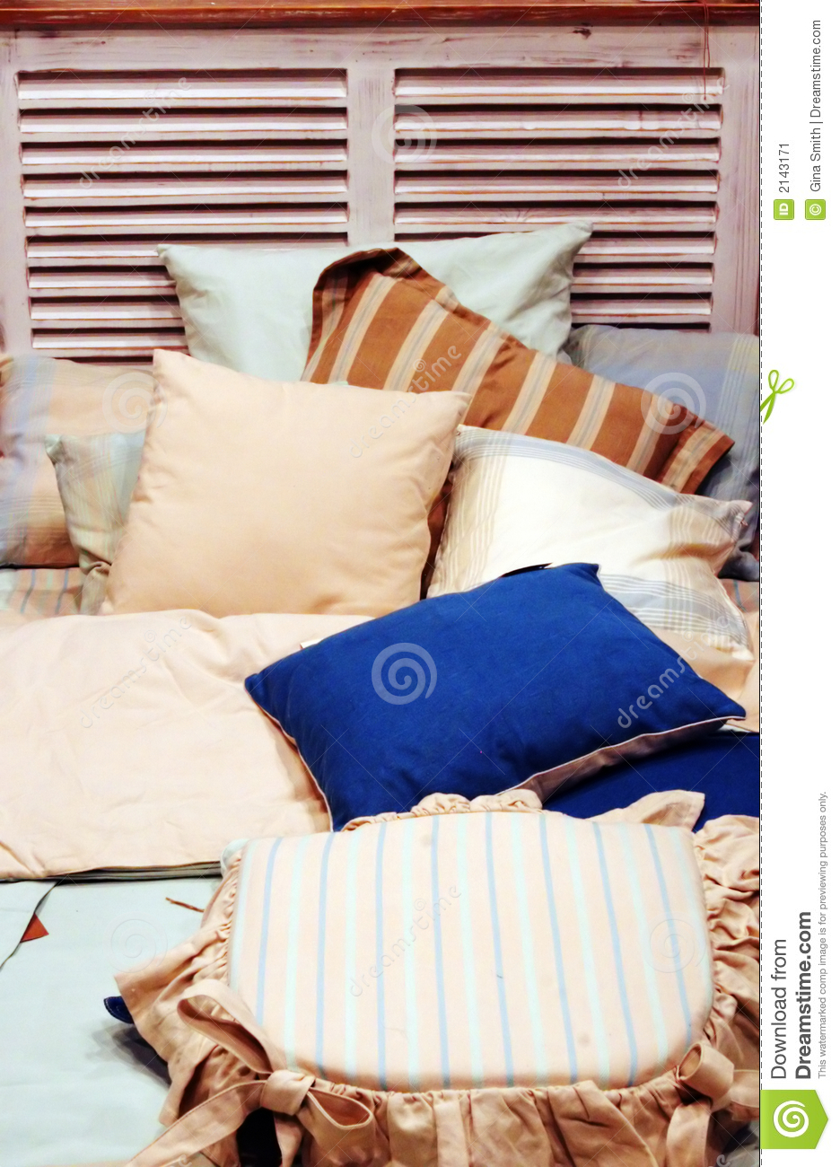 Bed With Lots Of Pillows Stock Image Image 2143171