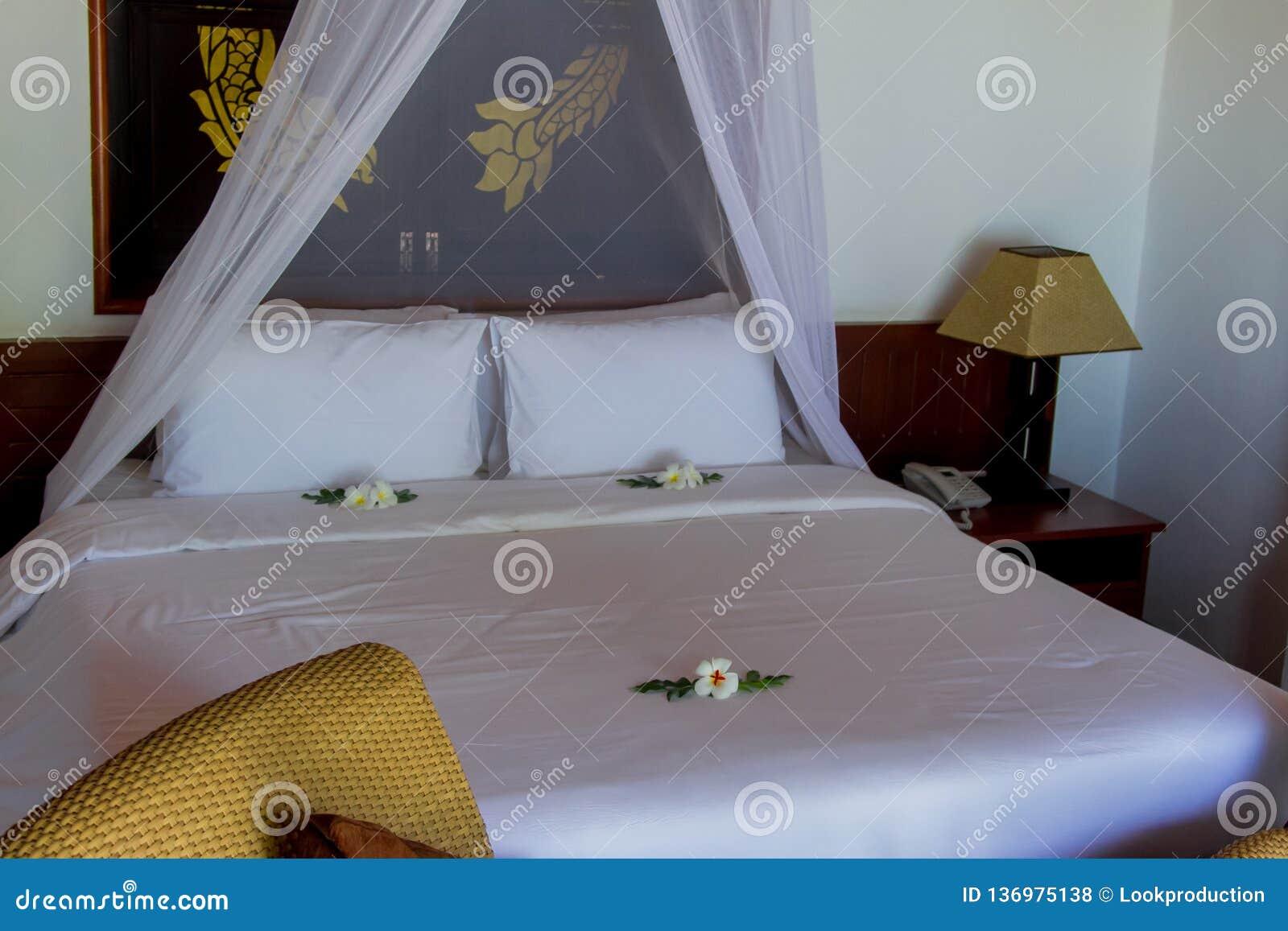Bed in luxury bedroom villa