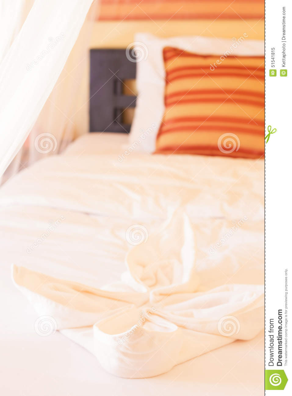 Bed With Mosquito Netting Stock Image. Image Of Pillow