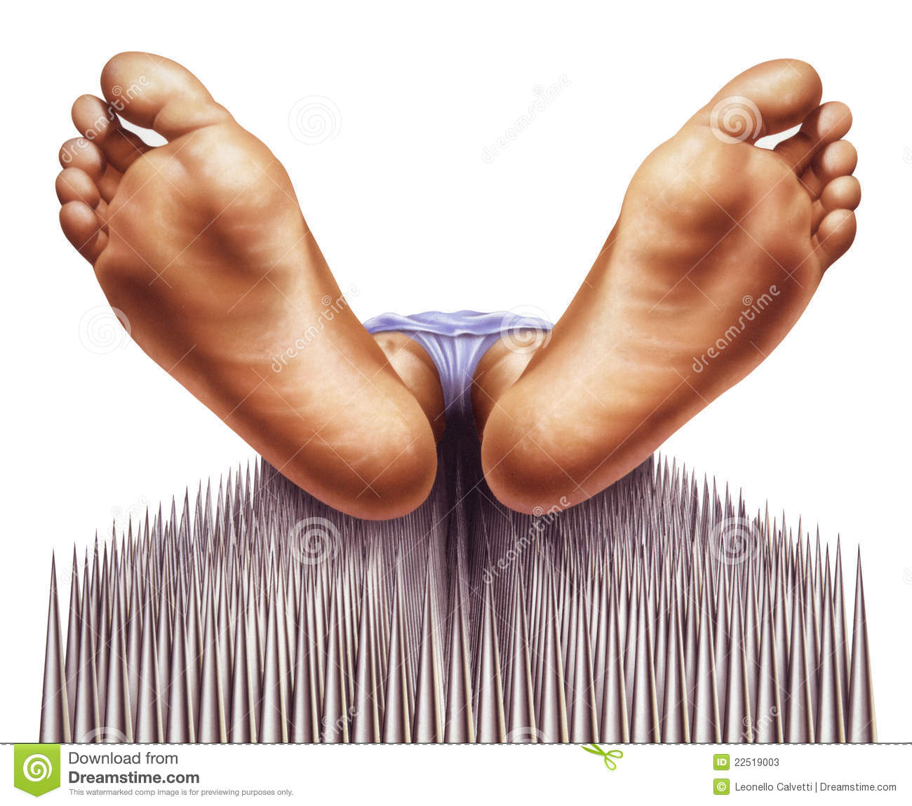 Bed Of Nails With Fakir Viewed From Feet Stock Image Image Of