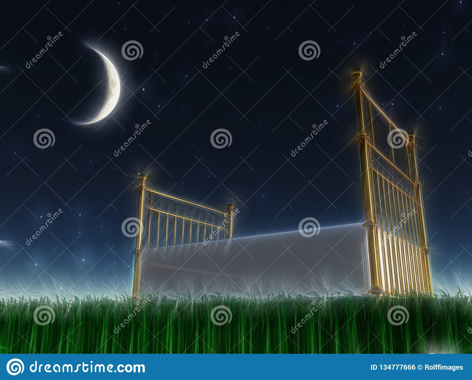 Bed Outside Under The Stars Stock Illustration