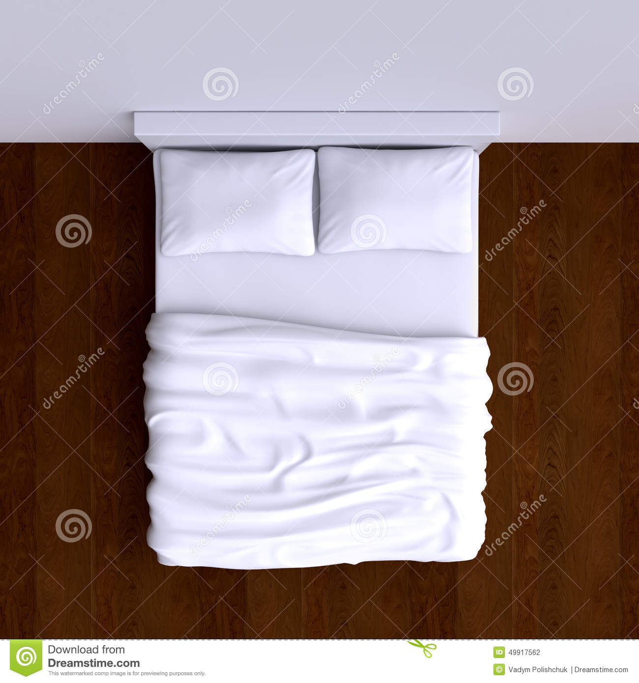 White bed top view - Bed With Pillows And A Blanket In The Corner Room 3d Illustration Stock Photography