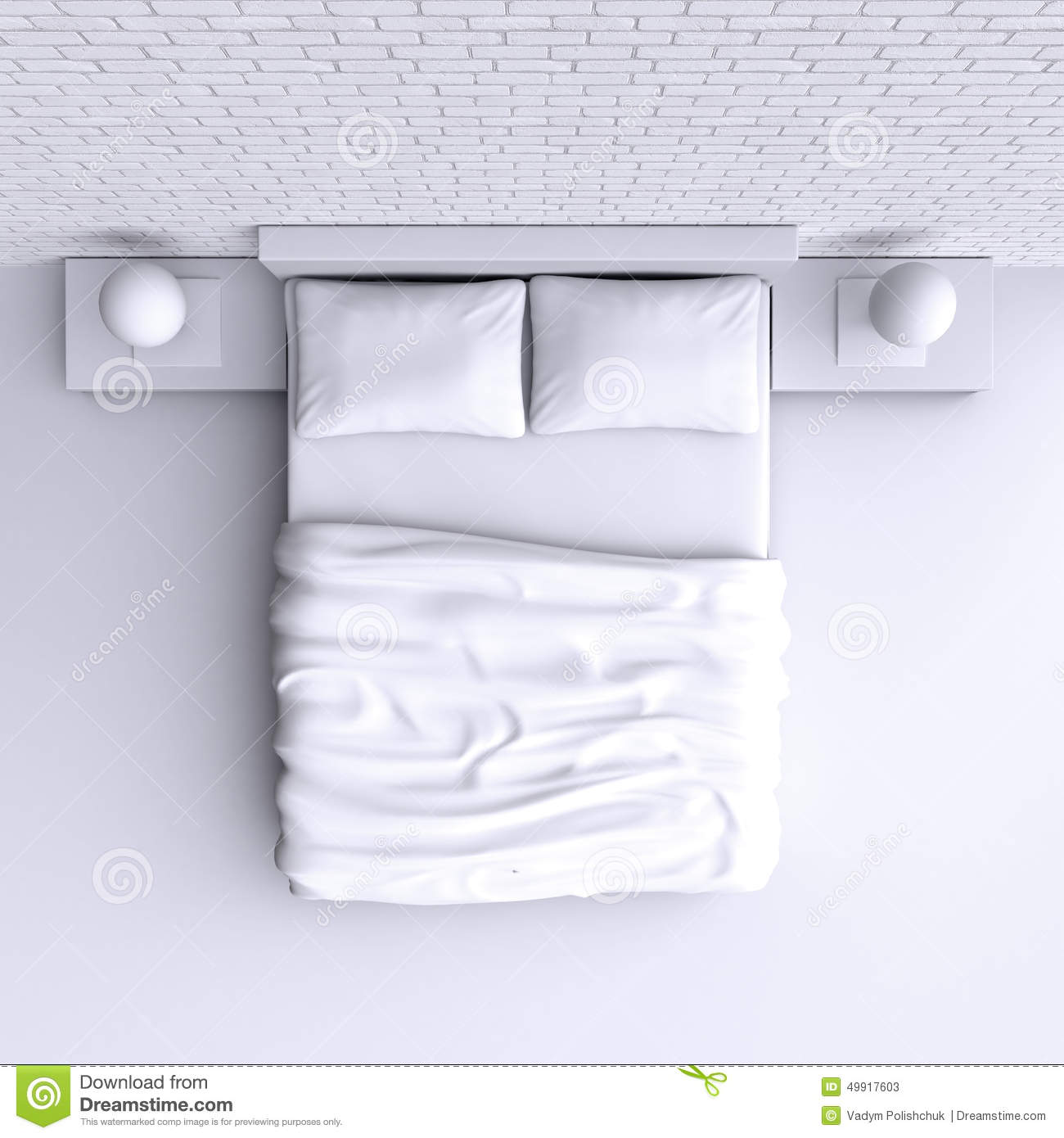 Bed With Pillows And A Blanket In The Corner Room, 3d
