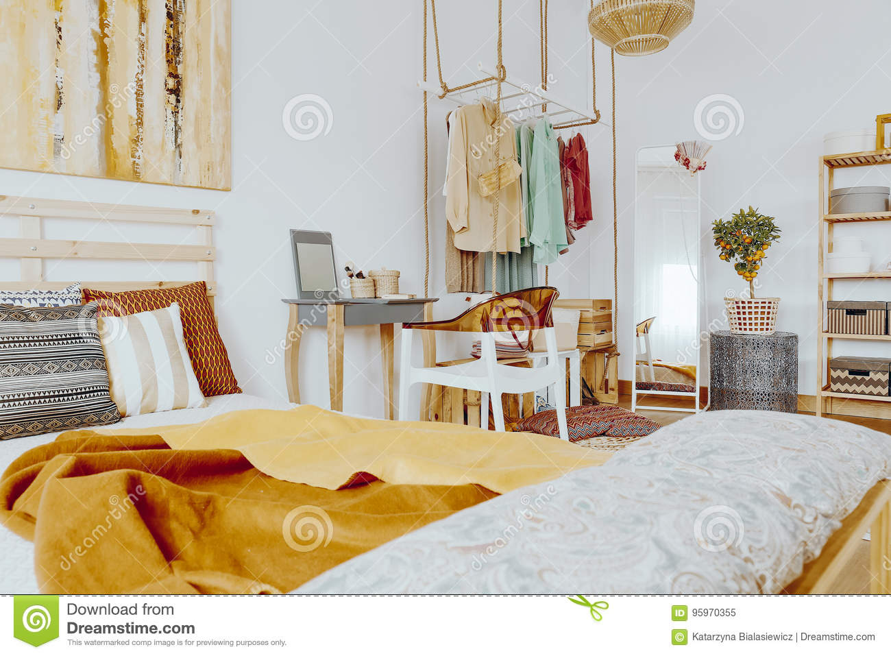 Bed With Pillows And Blanket Stock Image Image Of Decorations Decorative 95970355