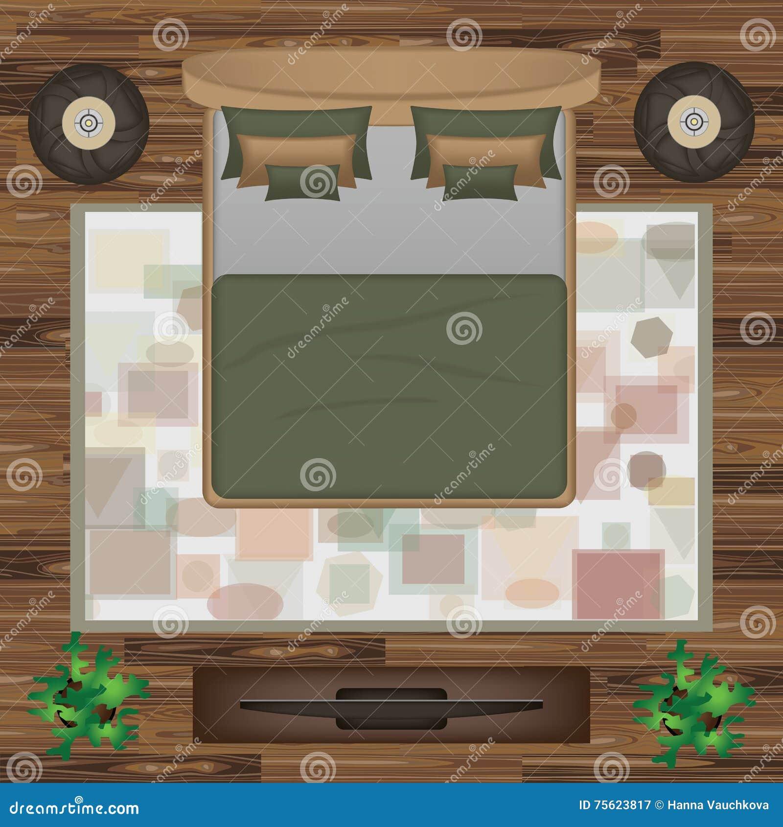 Beau Download Bed, Pillows, Carpet, Pouf, Plants Vector Illustration. Bedroom  Furniture Set