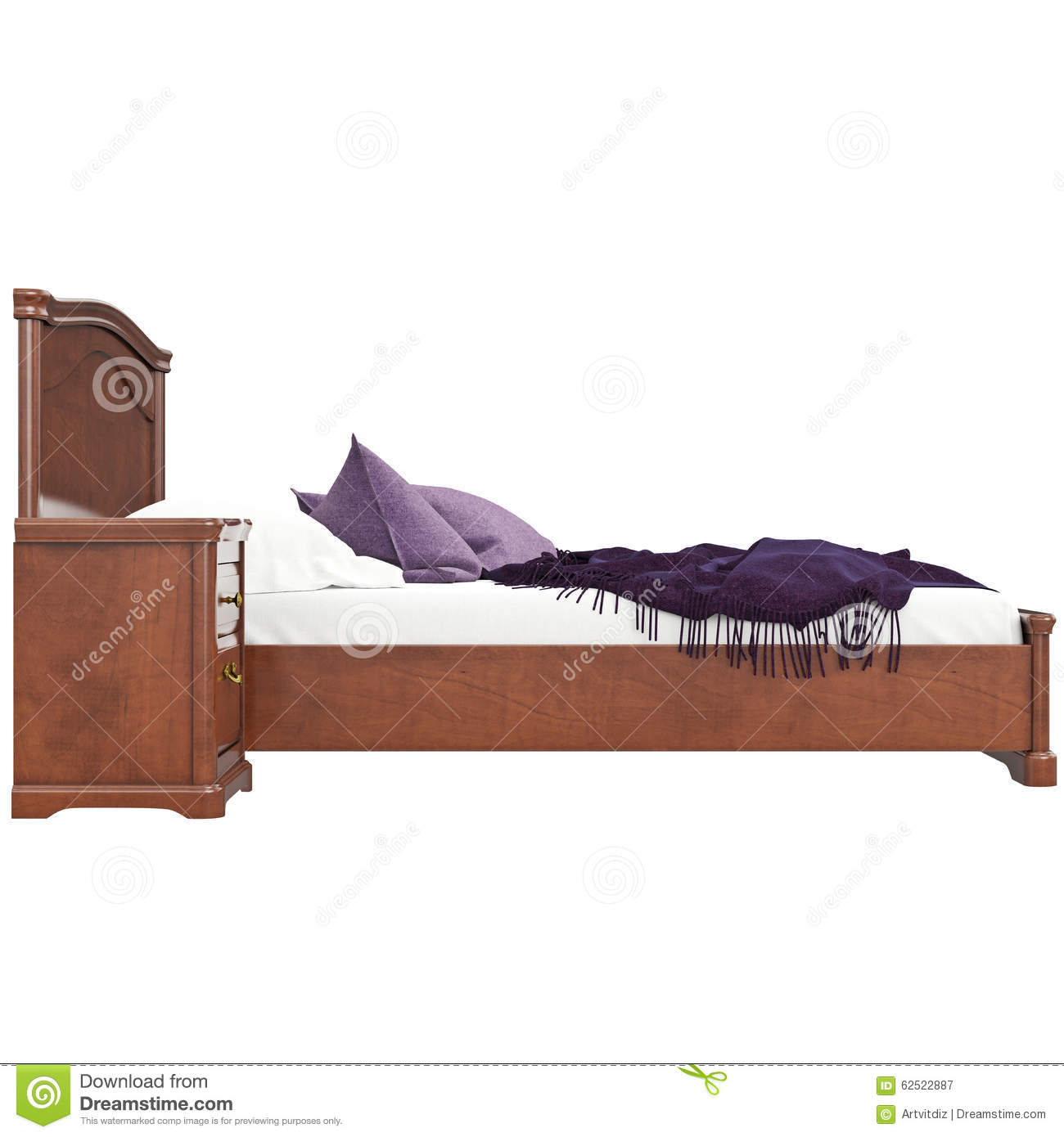 Bed With Pillows Side View Stock Illustration