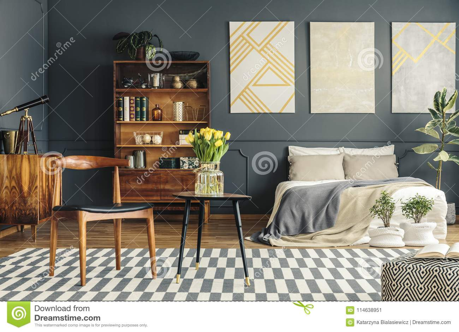 Retro bedroom interior stock image. Image of black, bookcase - 114638951