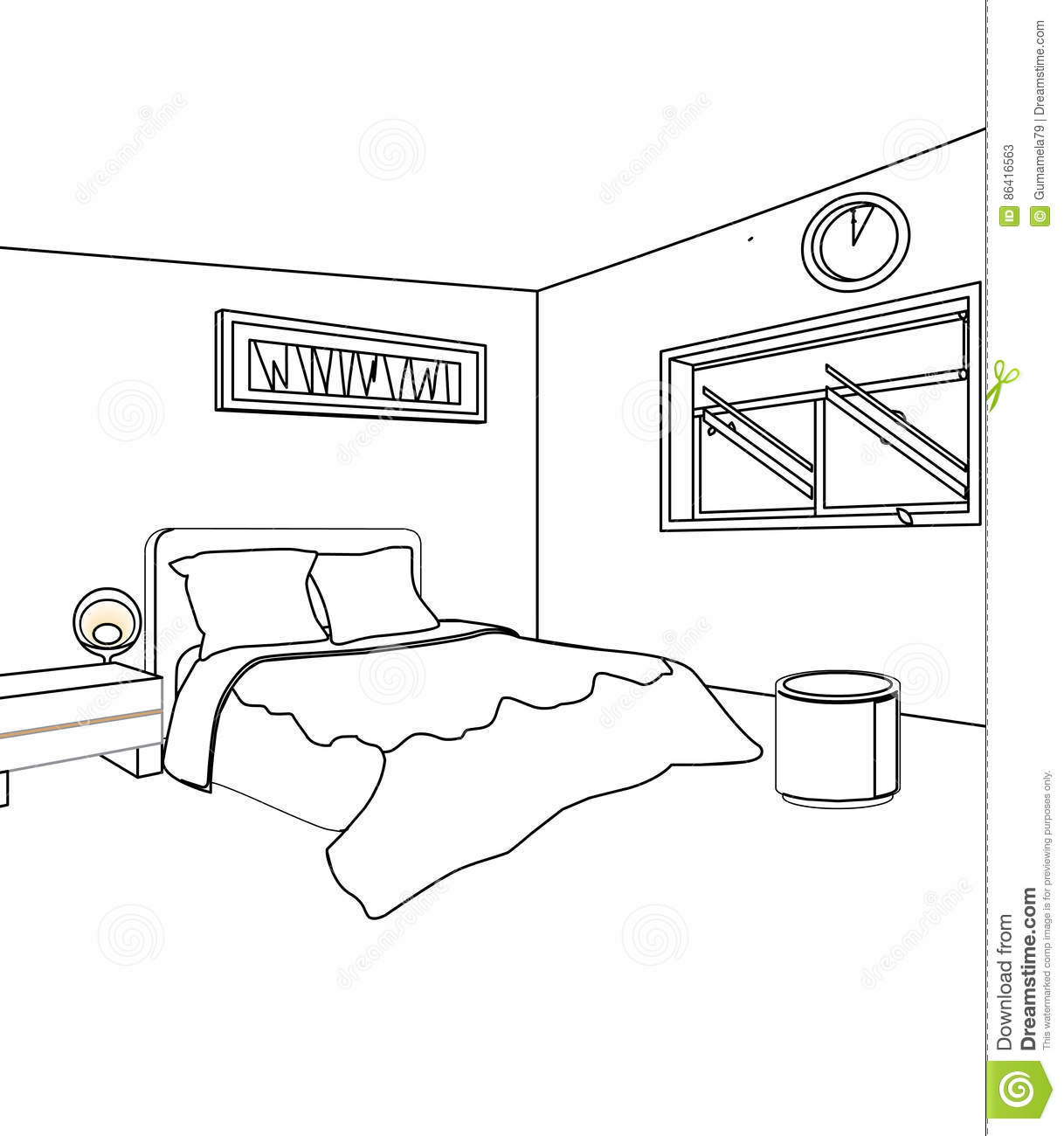 Bed room coloring page stock illustration. Illustration of