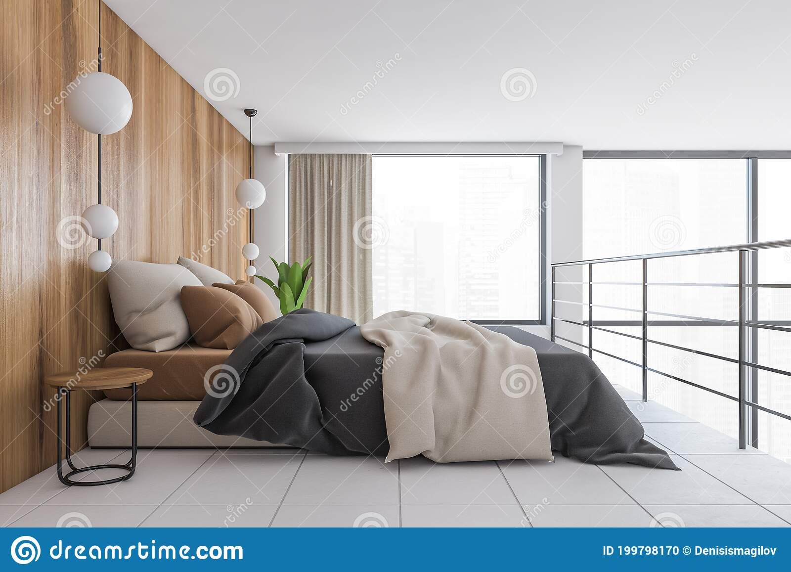 Bed On The Second Floor With Linens Wooden And White Minimalist Sleeping Room Stock Illustration Illustration Of Plant Render 199798170