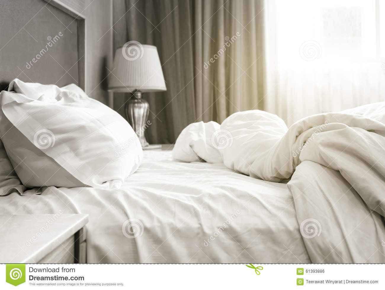 Bed sheet mattress and pillows messed up Bedroom