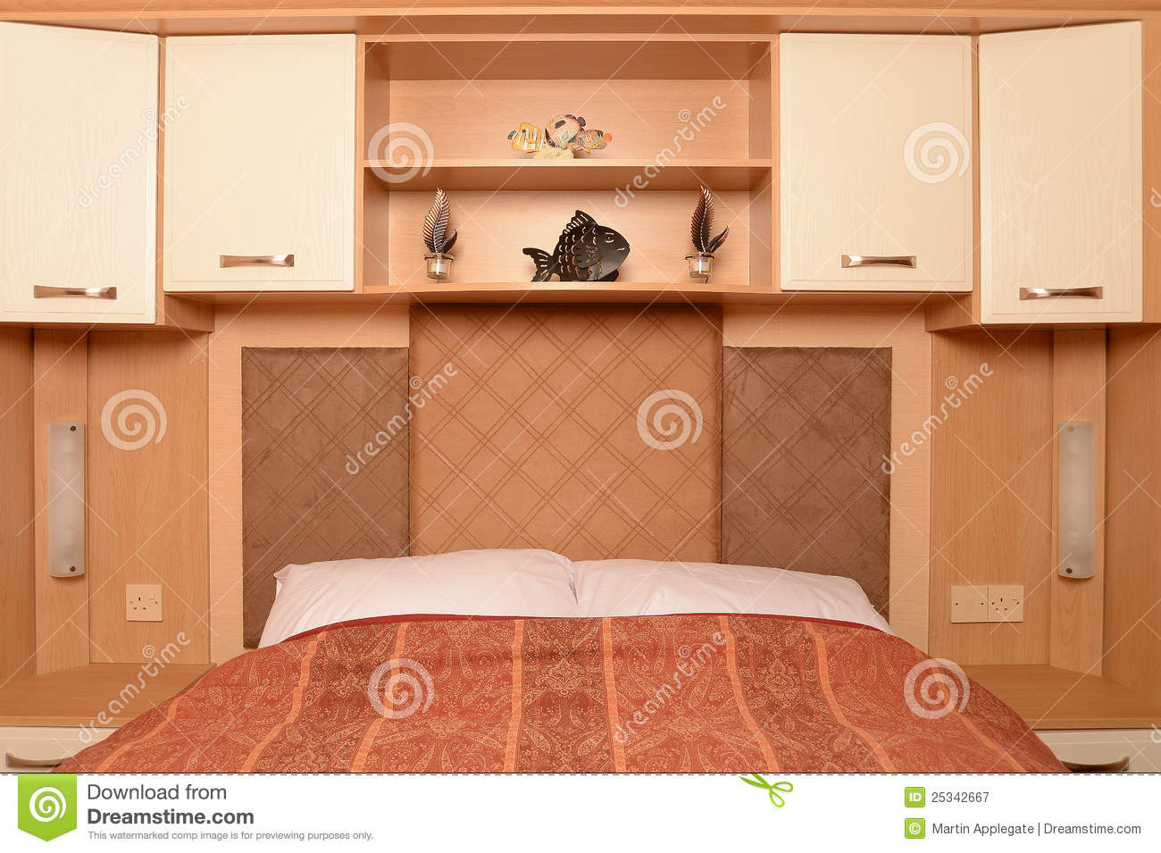Bed With Shelves And Cabinets Royalty Free Stock Photography Image 25342667