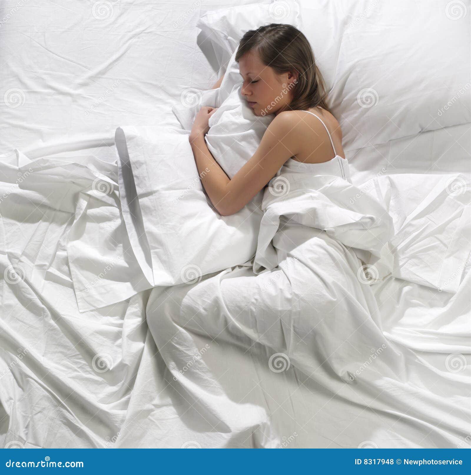 Bed sleeping woman