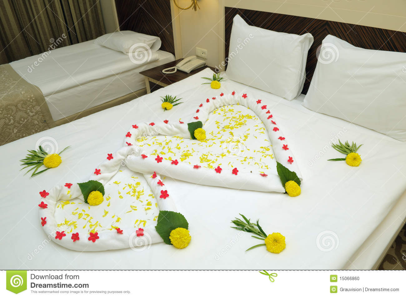 Bed Suite Decorated With Flowers Stock Photo Image 15066860
