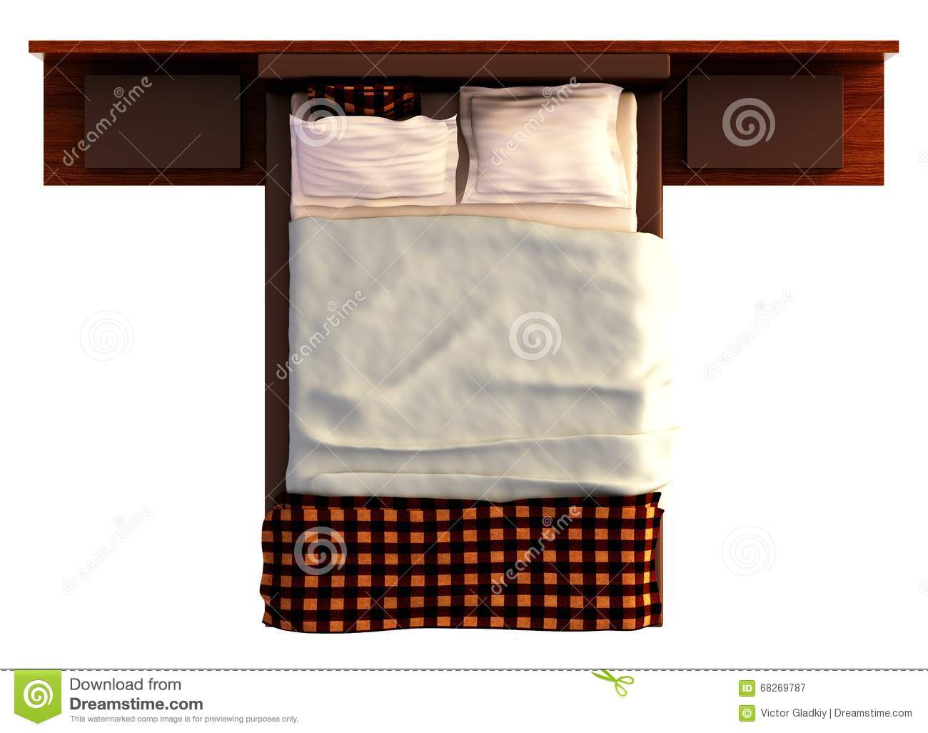 Bed Top View On White Stock Illustration Illustration Of
