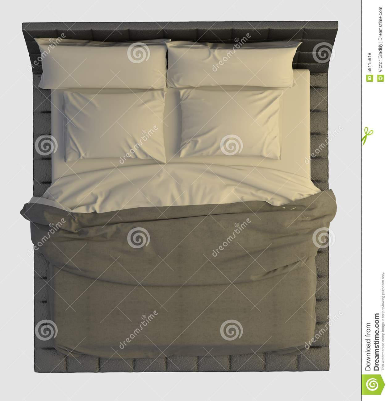 Bed Top View On White Stock Illustration - Image: 59115918
